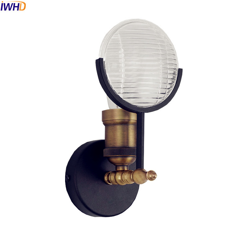 IWHD Nordic Vintage Wall Lamp Home Indoor Lighting Glass Shade Loft Industrial Edison Wall Light Fixtures Wandlamp Luminaire nordic vintage loft style wall lamp glass wood rocker bedside light fixtures for alise bar cafe indoor home lighting luminaire