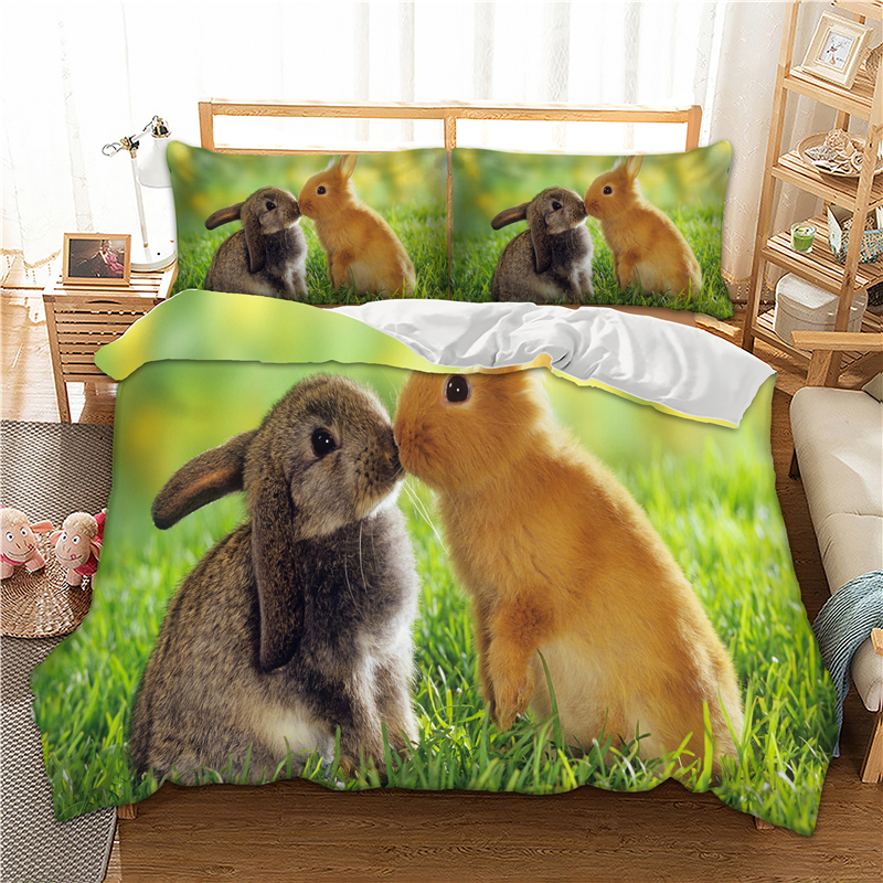 Rabbit Couple printed Bedding Set with pillowcases Twin Full Queen King single sizes Animal Duvet / Quilt Cover set pillowcases|Bedding Sets| |  - title=