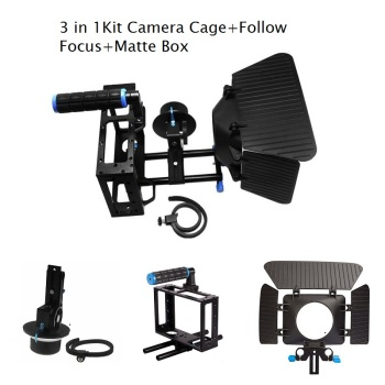 Lightdow 3 In 1 DSLR Rig Kit Matte Box +Follow Focus+DSLR Camera Cage for Cannon Nikon Sony Pentax Olmpus DSLR Cameras