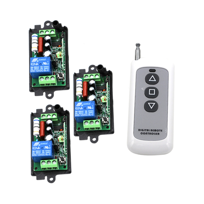 AC 220V 110V Remote Control Switch 1 CH 10A Relay 3 Receiver 1 Transmitter LED Lamp Light Remote ON OFF Wireless Switch 4081 220v ac 1 channel relay 10a remote control switch rf wireless light lamp led remote on off switch transmitter and receiver