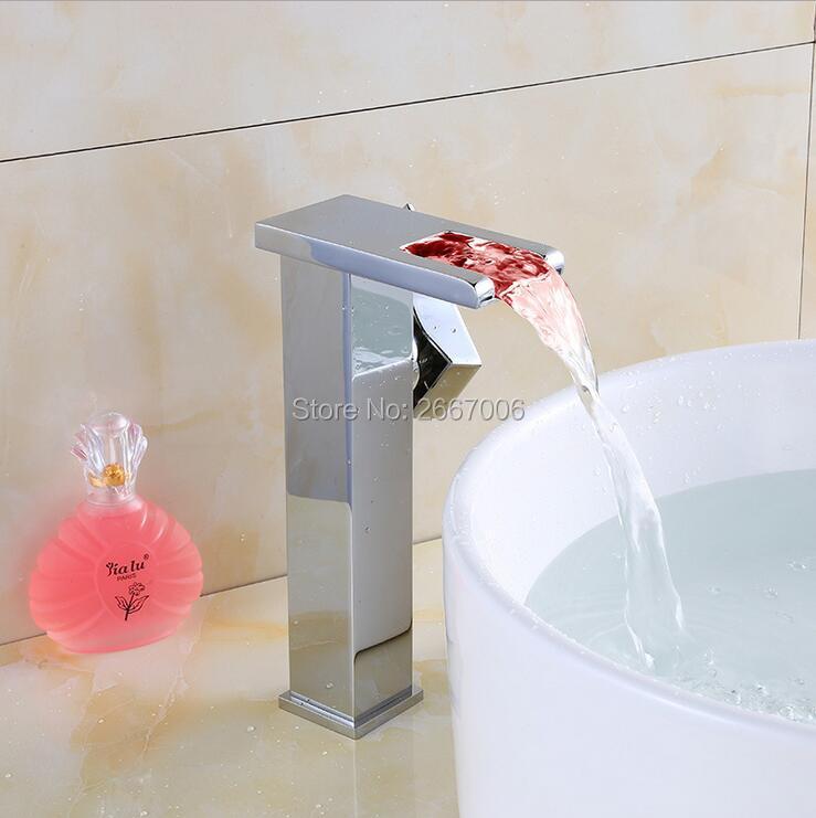 Comprar Envío LED lavabo de encimera grifo de alimentación de agua grifos temperatura 3 colores cambiantes latón grifo cascada ZR628 de basin faucet fiable proveedores en GIZERO Global Sanitary Store