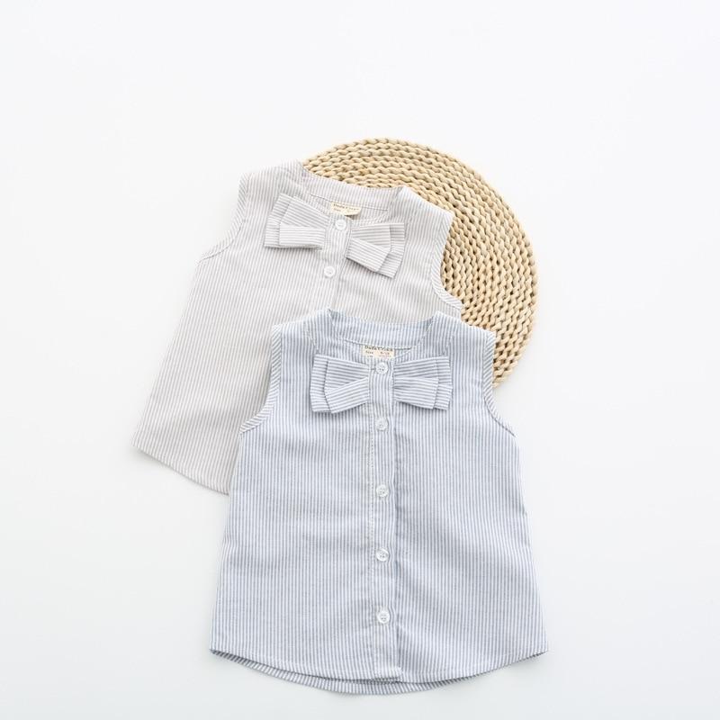 Baby Girls Blue linen shirts Dress Sleeveless designer shirts bodybuilding Kids Newborn Children Clothes Striped Shirts 9M-3YRS