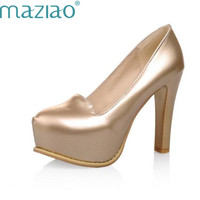 MAZIAO Spring summer Ladies high heel shoes Woman pump Platform Pointed toe Glitter Fashion Sexy Party shoes Big size 33 43