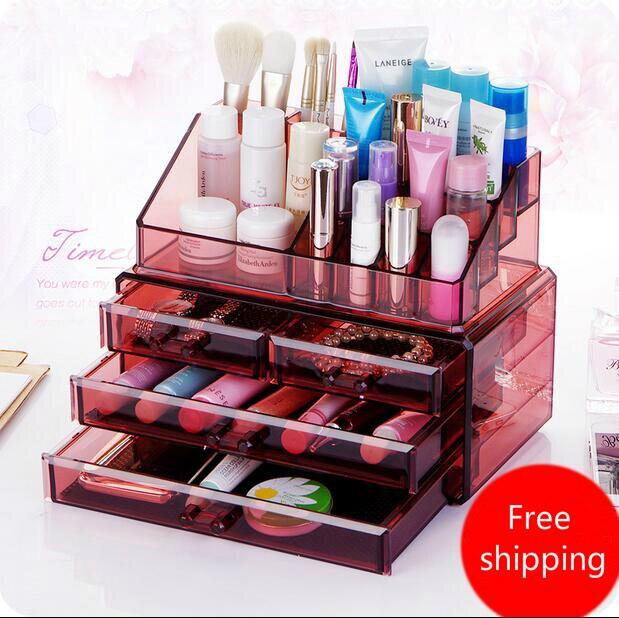 Grand tiroir acrylique combinaison Style organisateur de maquillage bureau articles divers boîte de rangement boîte à bijoux en plastique Transparent