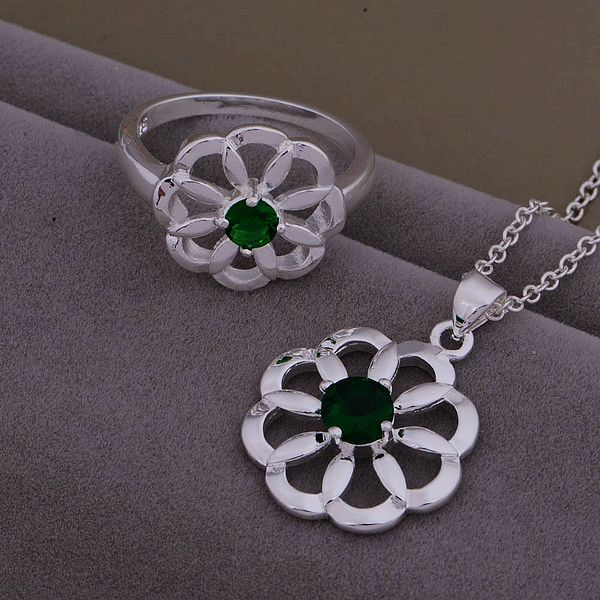 AS432 Trendy wholesale silver Jewelry Sets Ring 591 + Necklace 906 atqajkxa bunaklua