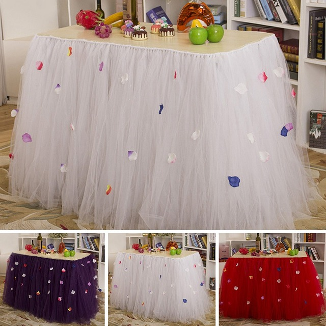 Fashion Handmade Tulle Tutu Table Skirt With Petal Organza Christmas  Wedding Banquet Birthday Party Table Decorations
