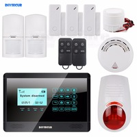 DIYSECUR 433MHz wireless and wired GSM alarm system, touch screen, flash sensor, SMS alert, smoke sensor