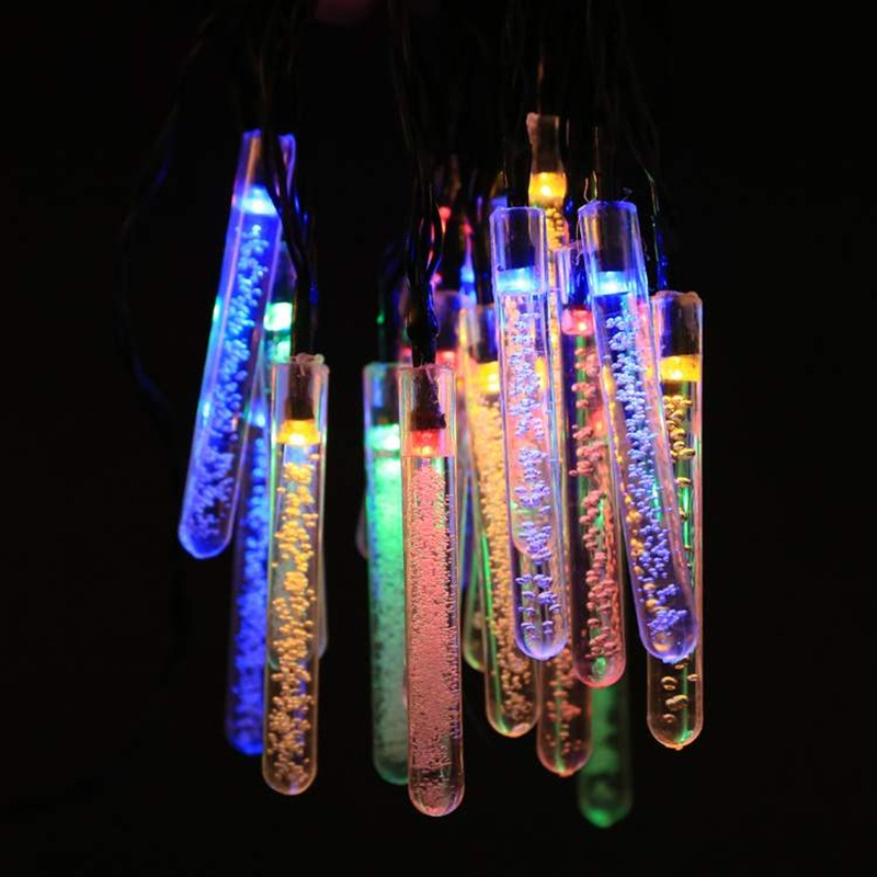 Solar Power Outdoor Multi Color String Fairy Lights Icicle Garden Patio Porch Christmas Wedding Light 20 Led