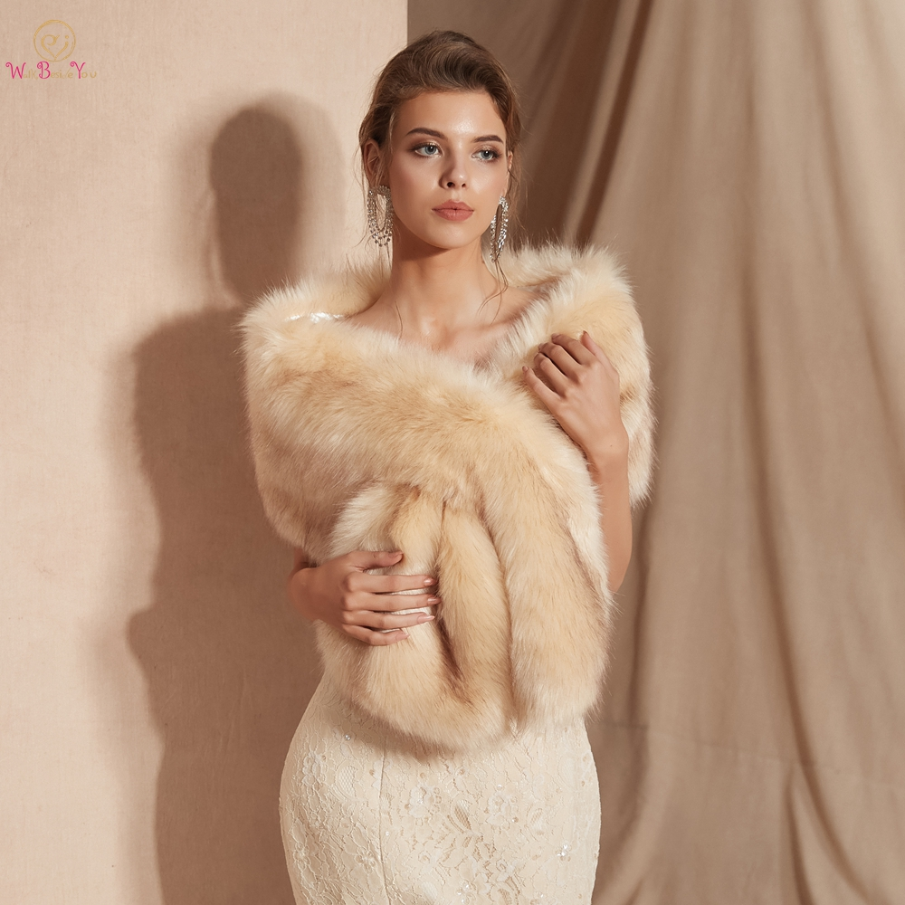 Women Fur Capes Champagne Wedding Bolero Faux Fur Stole Bridal Jacket Formal Party Shrug Walk Beside You Cape De Mariage