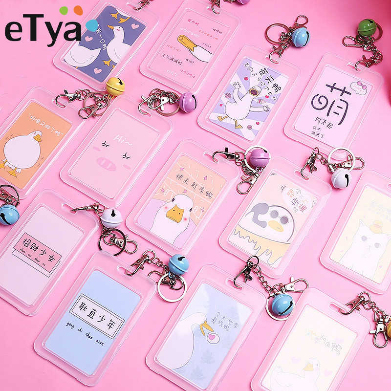 eTya Women PVC Cartoon Credit Card Holder Student Cute ID Cards Wallet Bus Card Protector Cover Transparent Bank Card Case