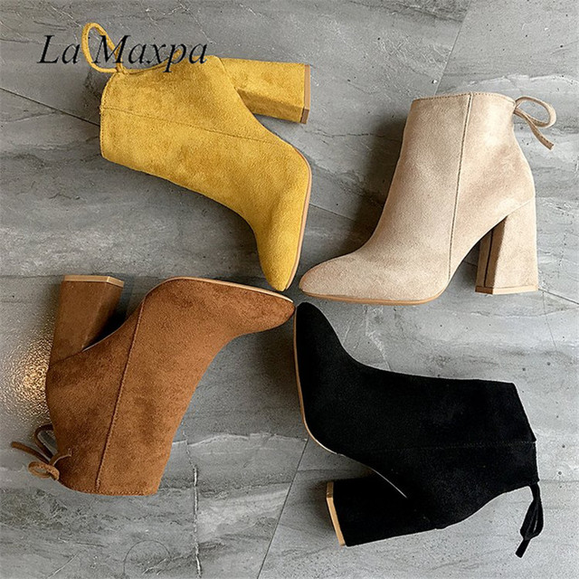 2019 Women Mid Calf Boots Yellow Color Pointed Toe Zippers Autumn Spring Women Martin Boots Casual Lace-up Boots Size 35-39 1