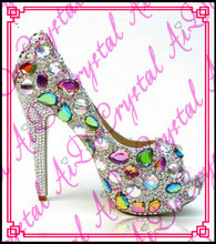 Aidocrystal handmade colorful diamond barbie fish mouth woman high heel platform High quality women pumps ladies shoes