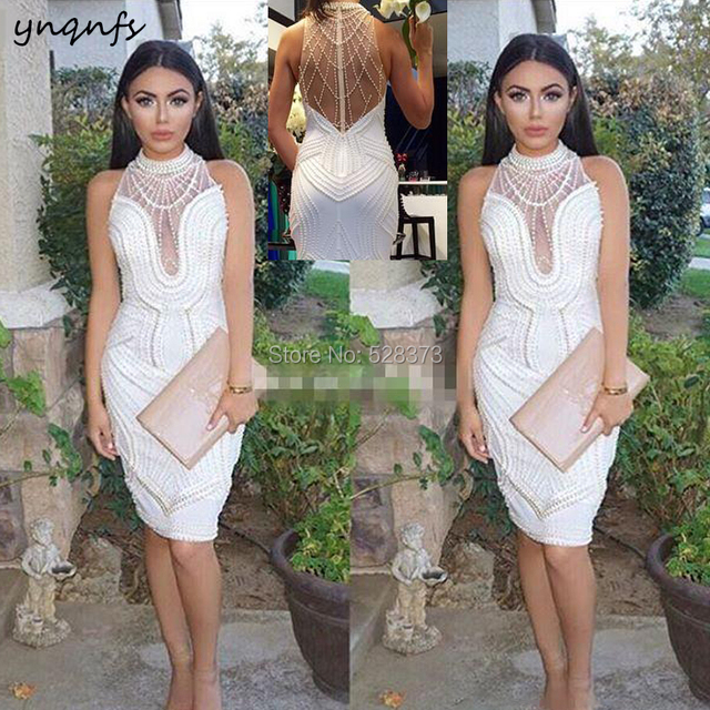 YNQNFS ED200 Vestido de Festa de luxo Elegant Pearls Crystal Dress Formal Luxury Party Prom Evening Bridesmaid Dresses 2019