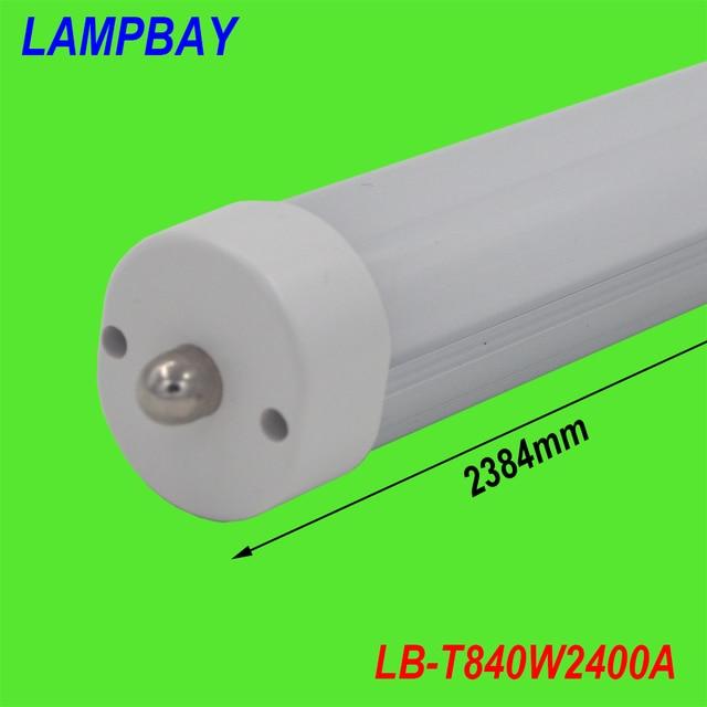(4 Упак.) бесплатная Доставка СВЕТОДИОДНЫЕ ТРУБКИ 8FT F96 40 Вт 110 В FA8 Лампы Молочно-Прозрачная крышка замены существующих люминесцентных светильника 85-277 В