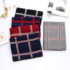 Image 2 - Роскошный брендовый зимний шарф 2020, кашемировые шарфы для женщин, шали и палантины, клетчатое плотное теплое мягкое одеяло большого размера, женское одеяло