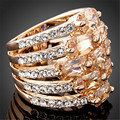 Elegant Crystal Zircon Finger Rings Rose Gold Filled Champagne Rhinestone Multi Layer Ring For Women Bohemian Anelli Donna R145