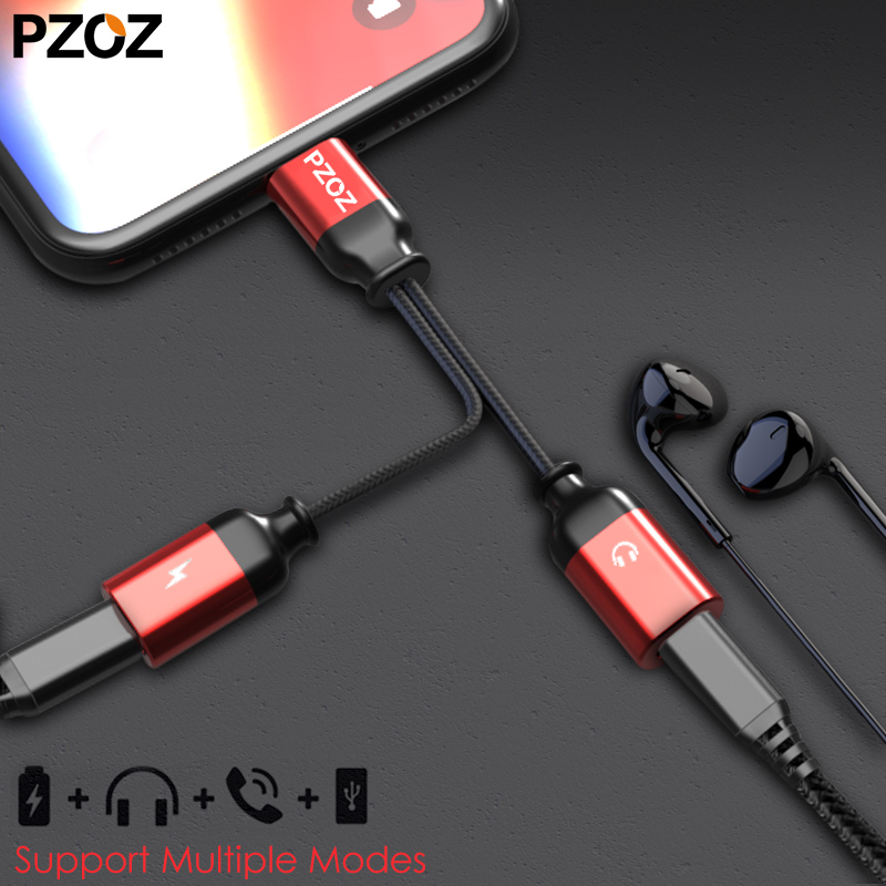 PZOZ Headphone-Adapter Splitter iPhone 7 Cable-Charging Jack Audio 8-Plus for 2-In-1