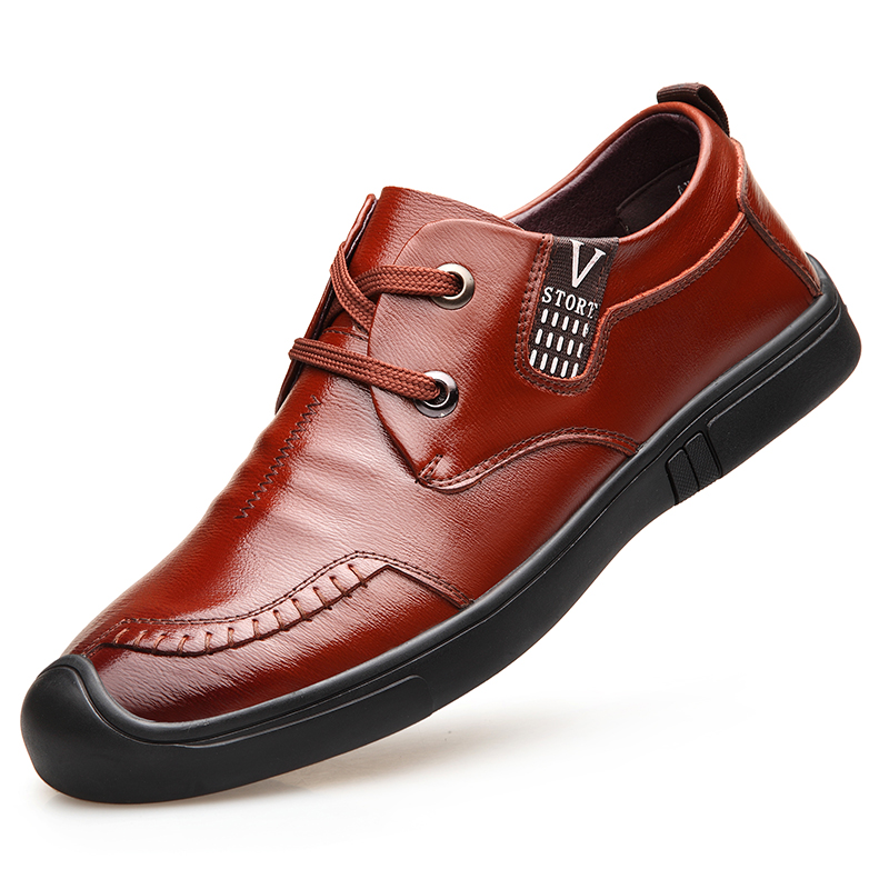 Dropshipping Luxury Brand Mens Casual Shoe New Fashion Breathable Split Leather Shoes Lace-Up Solid Flat Men DB085