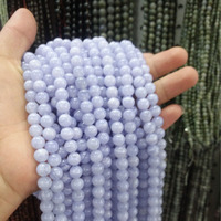 Wholesale Round Smooth 4 6 8 10 12mm Natural Purple Blue Lace Onyx Beads For Jewelry