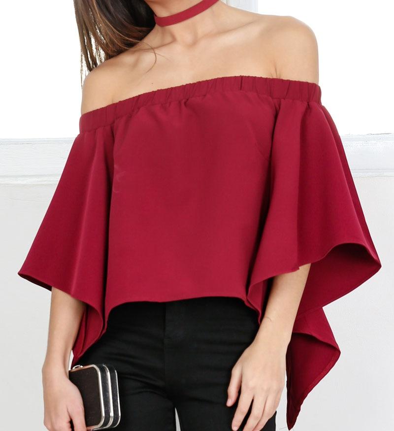 Otoño Del Verano Blusas de Las Mujeres Slash Cuello Fuera del hombro y Espalda A