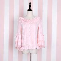 Zoete Lolita Chiffon Blouse Roze/Zwart Flare Mouw vrouwen Button Up Shirt door Idream