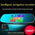 5 polegada Voice control Car DVR GPS Android espelho Retrovisor Bluetooth Monitor de Visão Noturna 1080 P Dupla Lente Da Câmera de Vídeo