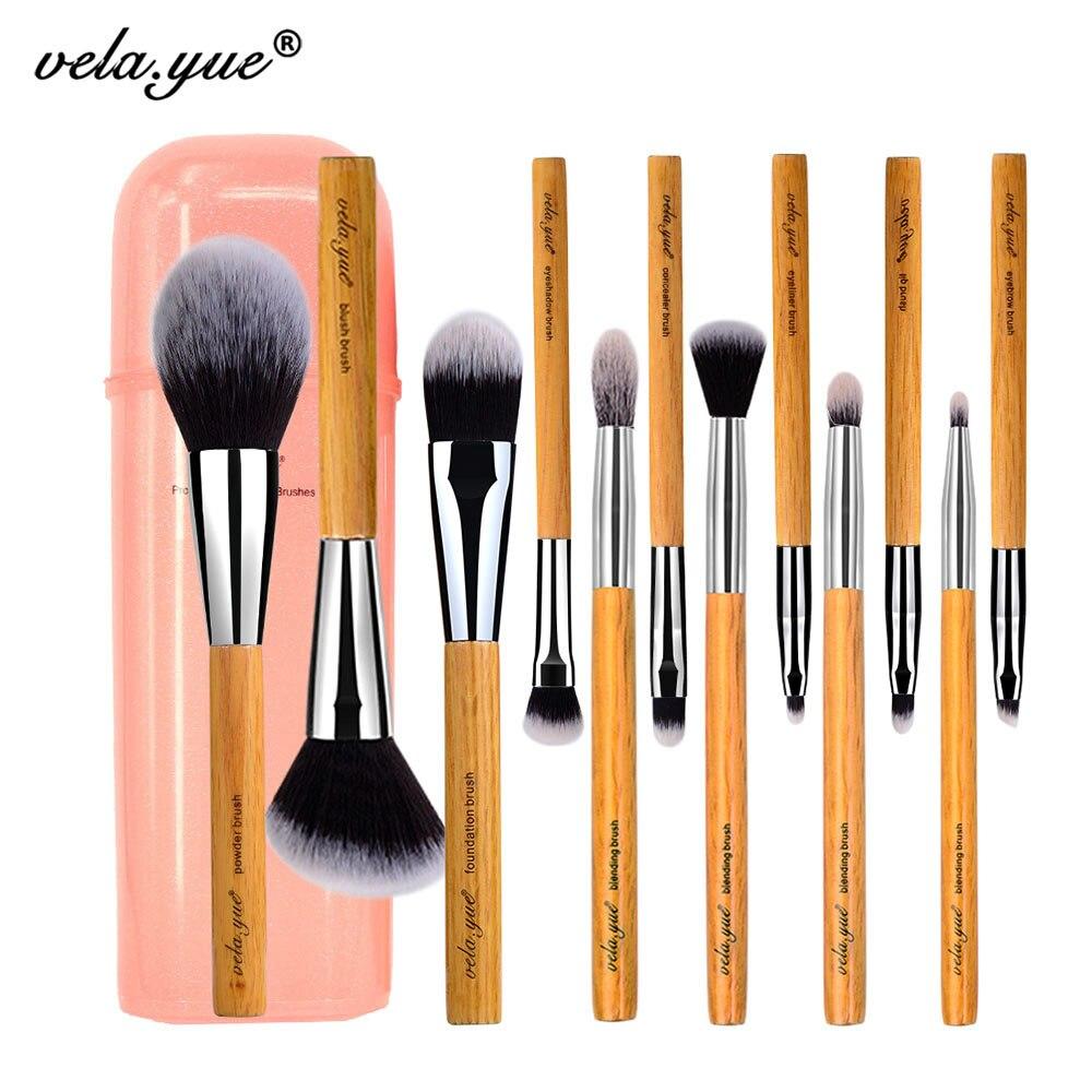 Vela. yue Maquillage Brush Set 12 pièces Sans cruauté Pleine Fonction Visage Cheek Yeux Lèvres Beauté Outils Kit avec cas