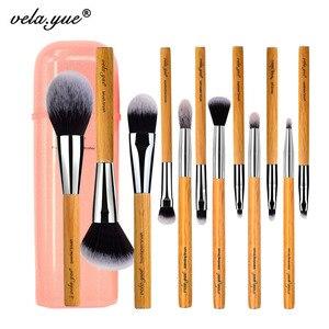 Image 1 - Набор кистей для макияжа vela.yue, 12 шт., без жестокости, полнофункциональный, для лица, щек, глаз, губ, набор инструментов для красоты с чехлом