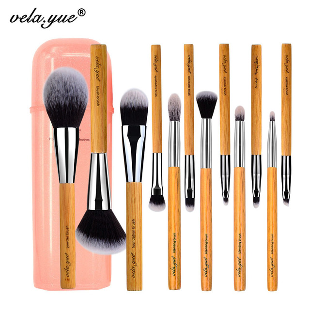 Набор кистей для макияжа vela.yue, 12 шт., без жестокости, полнофункциональный, для лица, щек, глаз, губ, набор инструментов для красоты с чехлом