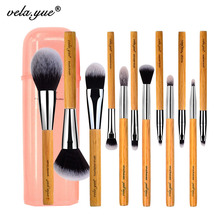 hot deal buy vela.yue makeup brush set  12 pieces cruelty free full function face cheek eyes lips beauty tools kit with case