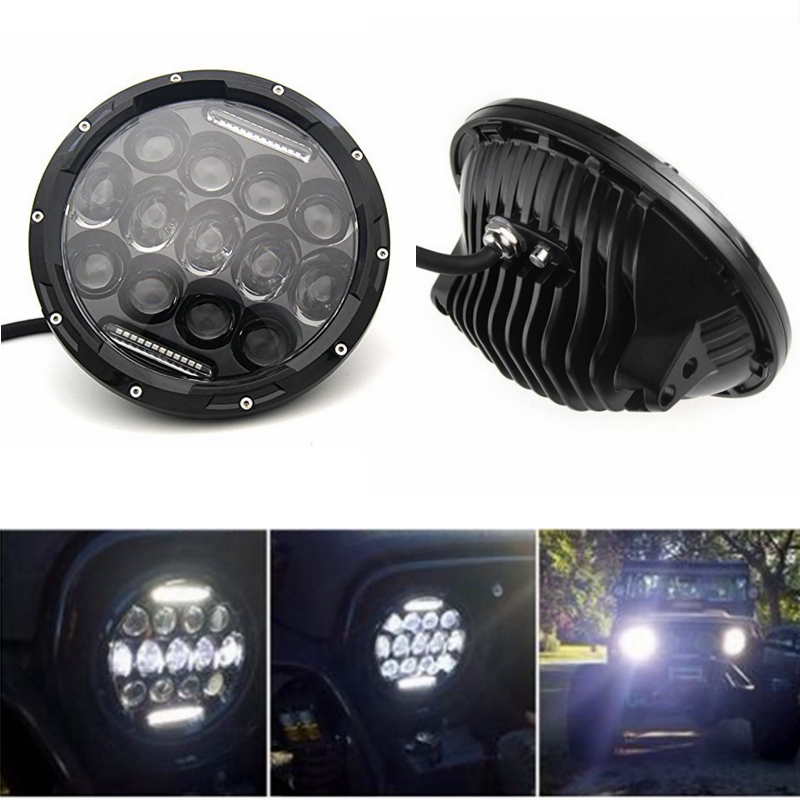 1 Pair 7 Inch Round Black Led Headlight with DRL Hi/lo Beam for Wrangler Jk Tj Harley Davidson with H4 Plug H4-h13 Adapter h4 car led headlight kit diamond h4 h13 9004 9007 hi lo beam headlight auto front bulbs 6000k 12v car lighting replacement bulbs