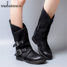 2017 New Style Black Real Leather Women Buckles Flat Boots Vintage Women Mid-calf Botas Militares Zapatos Mujer Martin Boots