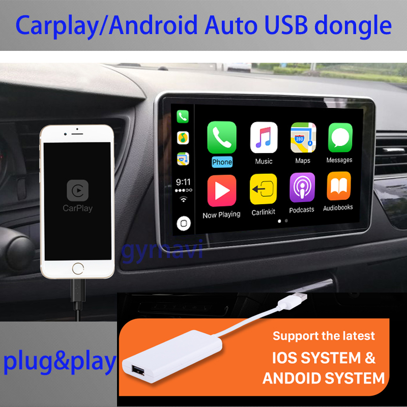 IOS carplay usb dongle android auto link for android car dvd device use touch screen voice control