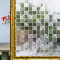 90 200 Cm No Glue Opaque Stained Mosaic Frosted Decorative Window Films Vinyl Static Cling Self