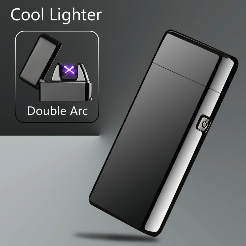 Newest Metal Windproof Electronic Lighters Charging Double Arc USB Charge Plasma Lighter Electric Pulse for Smke Pipe Cigarette