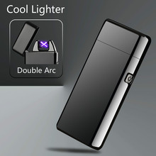 Newest Metal Windproof Electronic Lighters Charging Double Arc USB Charge Plasma Lighter