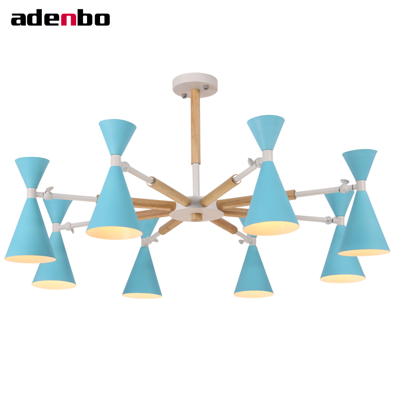 Nordic Creative Chandelier 3/6/8 Lights Living Room LED Chandeliers Lighting Fixture Wooden Light With Colorful Metal Shade