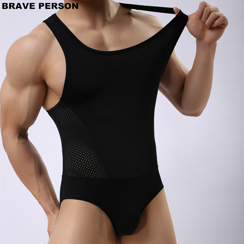 BRAVE PERSON Brand Breathable Mesh Bodysuits Men Shapers Leotard Male Body Building Singlet Underwear Shapewear for Men Vest Юбка