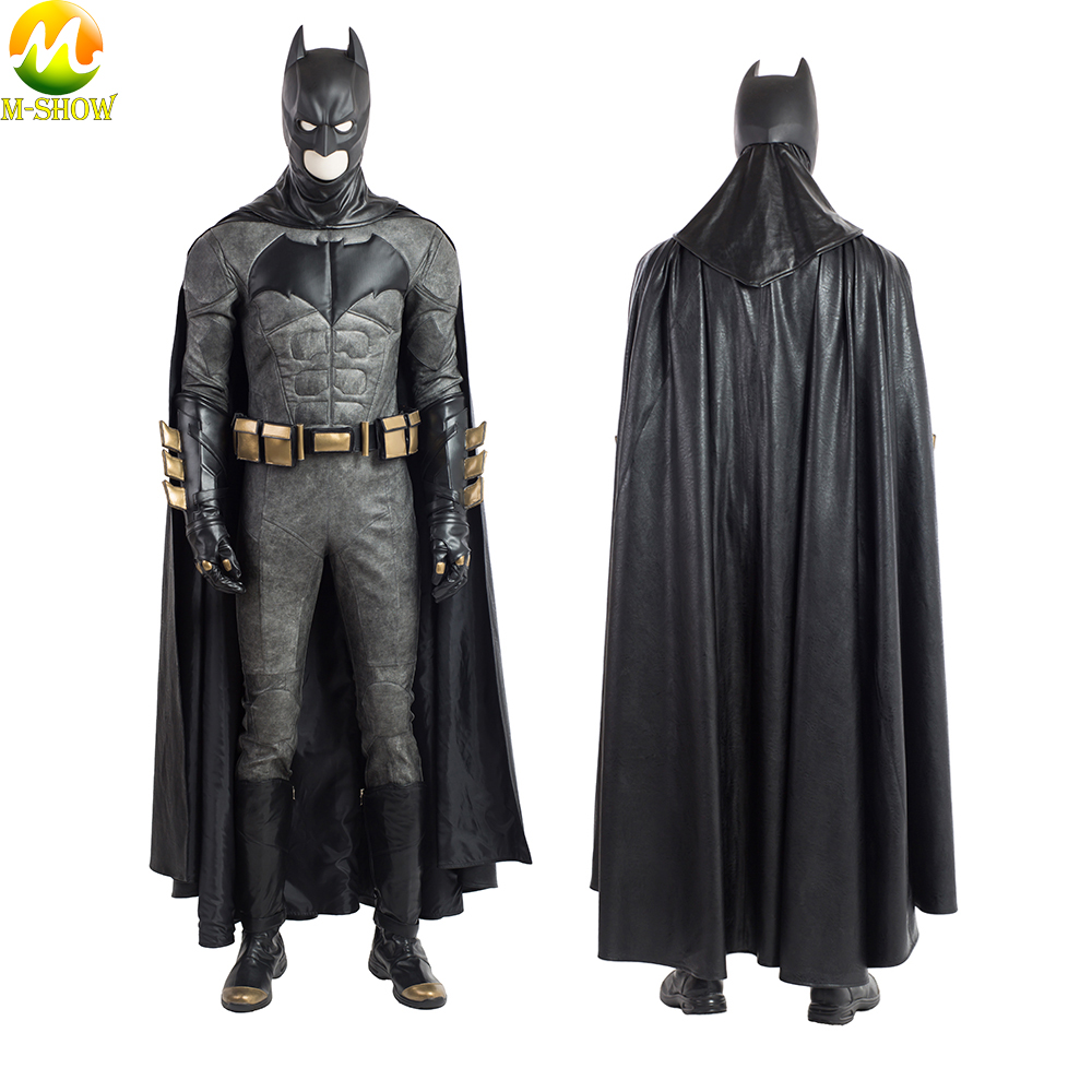 Justice League Batman Cosplay Costume Batman PU Leather Suit Halloween Costume For Men Custom Made High Quality Leather Top Cape