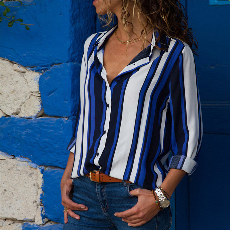 Women Blouses Fashion Long Sleeve Turn Down Collar Office Shirt Leisure Blouse Shirt Casual Tops 4