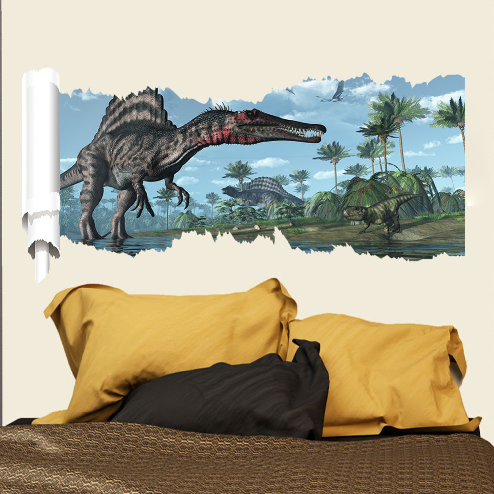 Dinosaur Wall Decor aliexpress : buy cartoon 3d dinosaur wall sticker for kids