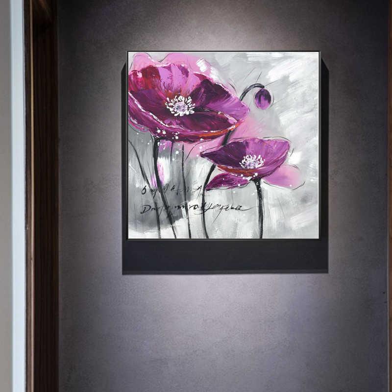 Modern Abstract Flower Posters and Prints Wall Art Canvas Painting Hand Painted Noble Violet Pictures for Living Room Home Decor