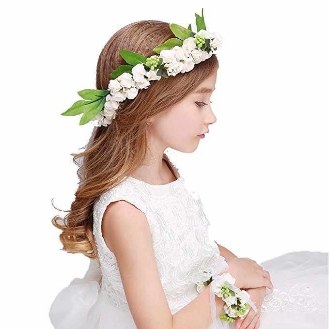 Милый розовый цветок повязка на голову для женщин дети свадебные волосы белый розовый украшения для головы гирлянда Аксессуары для волос с цветами