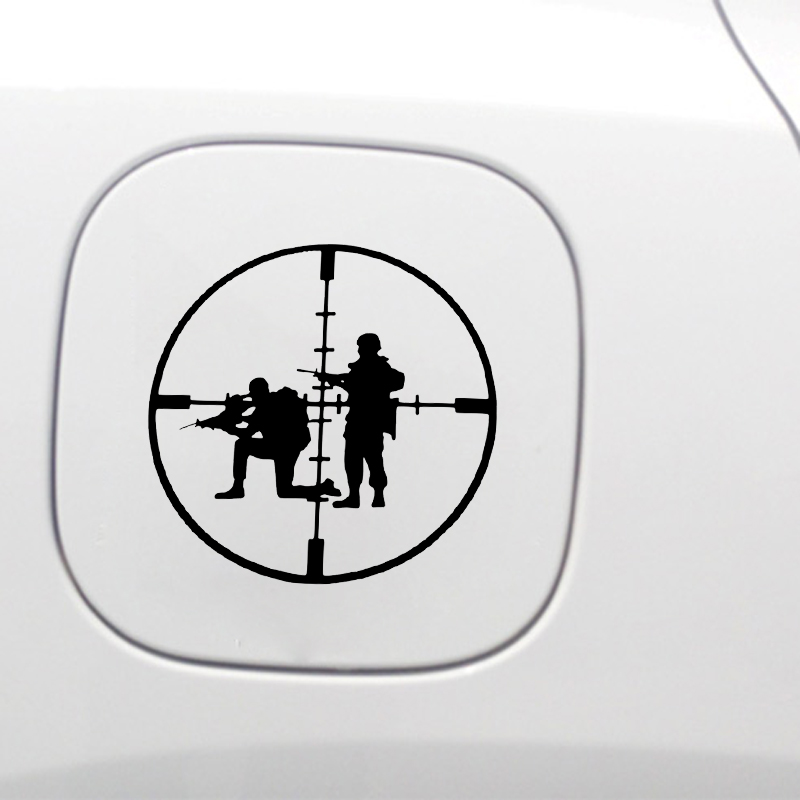 YJZT 13.6*13.3CM Coolest Gun Shooting Decoration Car Sticker Vinyl Bumper Window Black Silver C12-0274