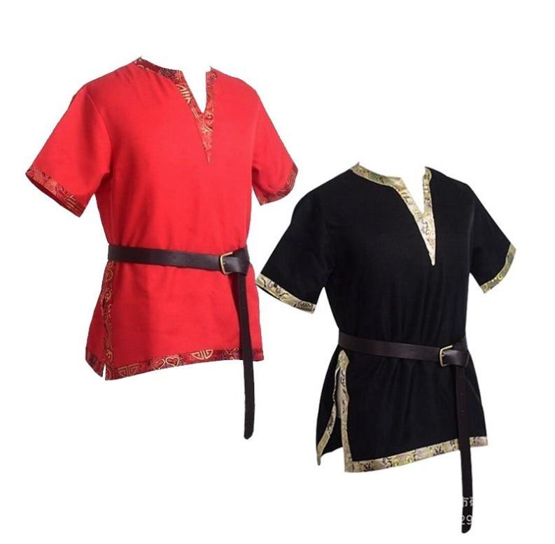 Men Halloween Medieval Renaissance Viking Knight Shirt Pirate Navigator Short Sleeves Summer Shirts Top Robe Cosplay Costume