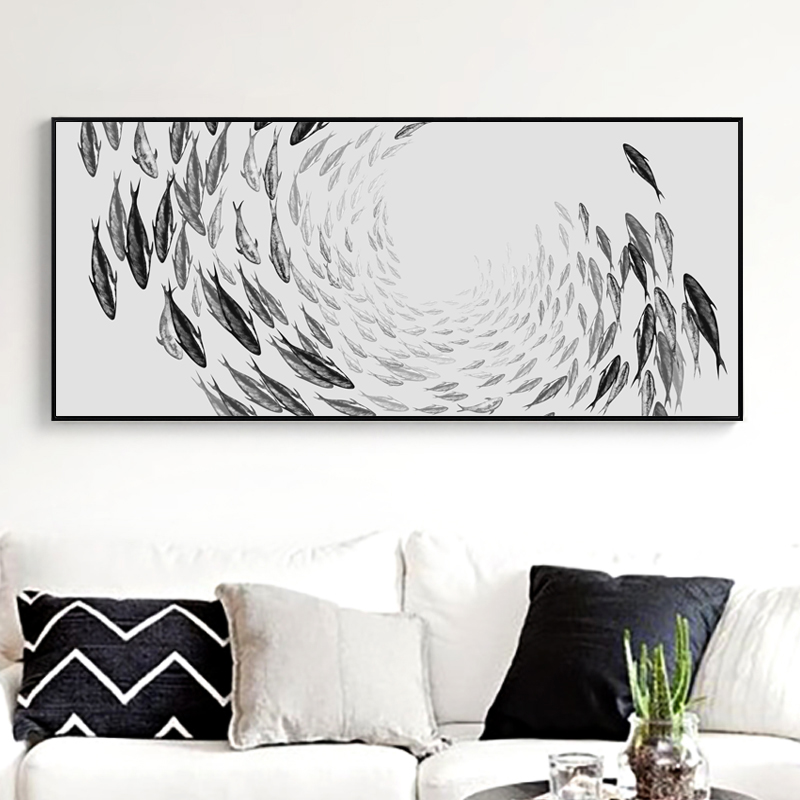 US $2.91 48% OFF|Elegant Poetry Simple Life Zen Abstract Fish Banner Canvas  Painting Art Print Poster Wall Paintings Bedroom Wall Home Decoration-in ...