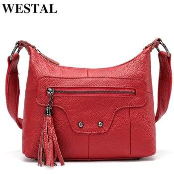 093b0b786cf3 WESTAL женская сумка из натуральной кожи красные женские сумки кошельки и сумки  женские сумки через плечо повседневные кожаные сумки-тоут 2006