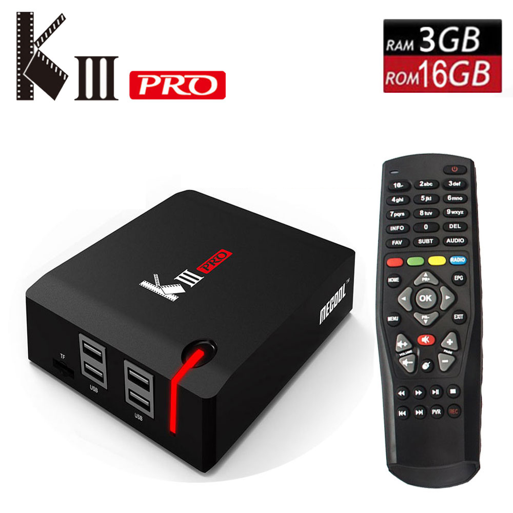 Originale MECOOL KIII PRO Android 7.1 TV Box DVB T2 DVB S2 DVB C 3g/16g Smart media Player Amlogic S912 Octa Core 2.4g/5g Wifi 4 k