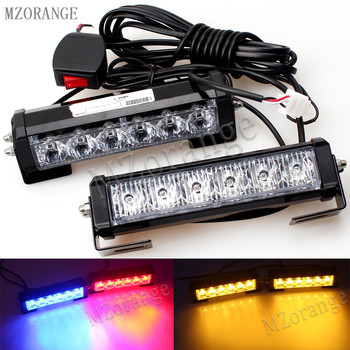 MZORANGE 36W Car Truck Front Grille LED Strobe Flash Warning Light Auto Police LED Bar Emergency Light 12V Caution Lamp grille