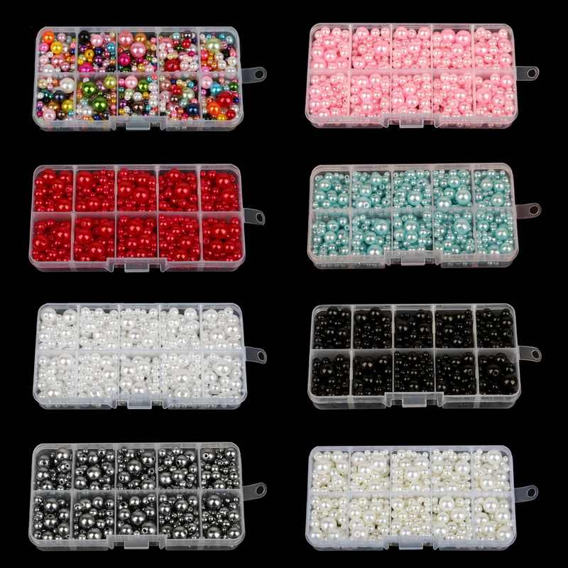 350Pcs 4mm-10mm Mixed Round Imitation ABS Pearl Beads Solid Color Loose Garment Beads for Clothing Decoration,Not Include Boxes